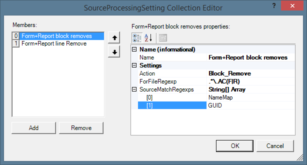 Ivercy SourceProcessingSettings Configuration Dialog