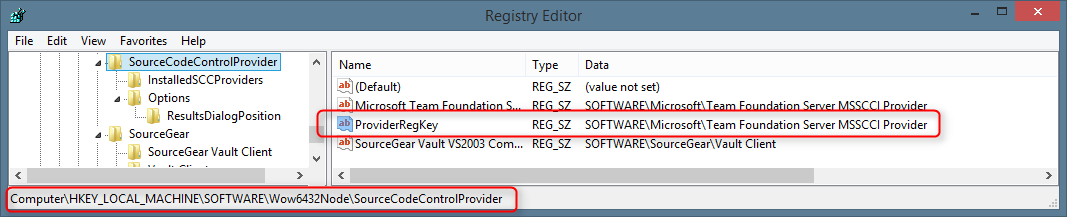 SourceCodeControlProvider Registry Key for Microsoft Team Foundation Server