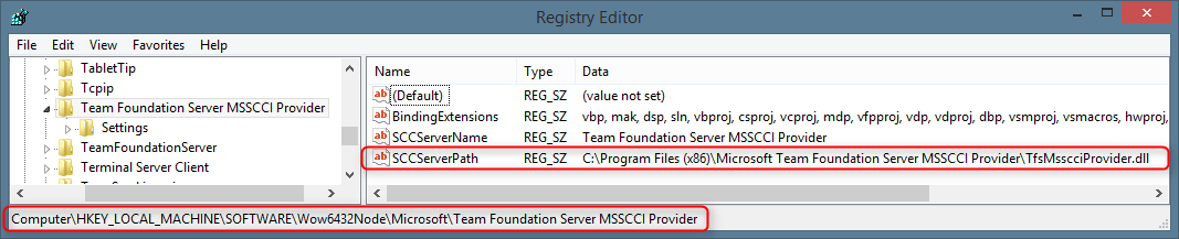 Microsoft Team Foundation Server MSSCCI Provider Settings in Windows Registry
