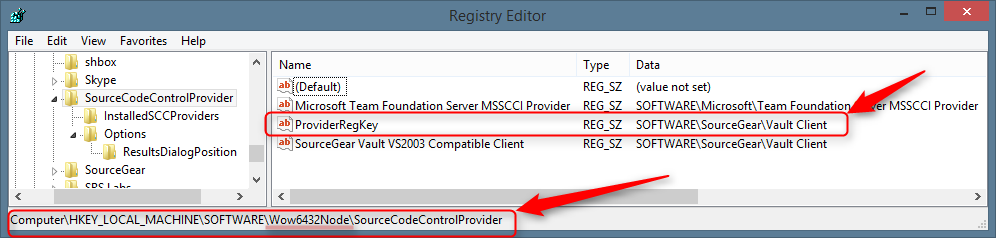 SourceCodeControlProvider Registry Key for Sourcegear Vault