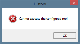 """Cannot execute the configured tool."" error message"