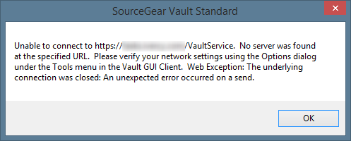 Error message 'unable to connecto to Vault service'