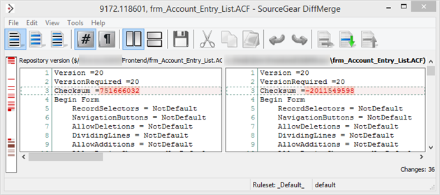 Checksum in Access form source file in DiffMerge